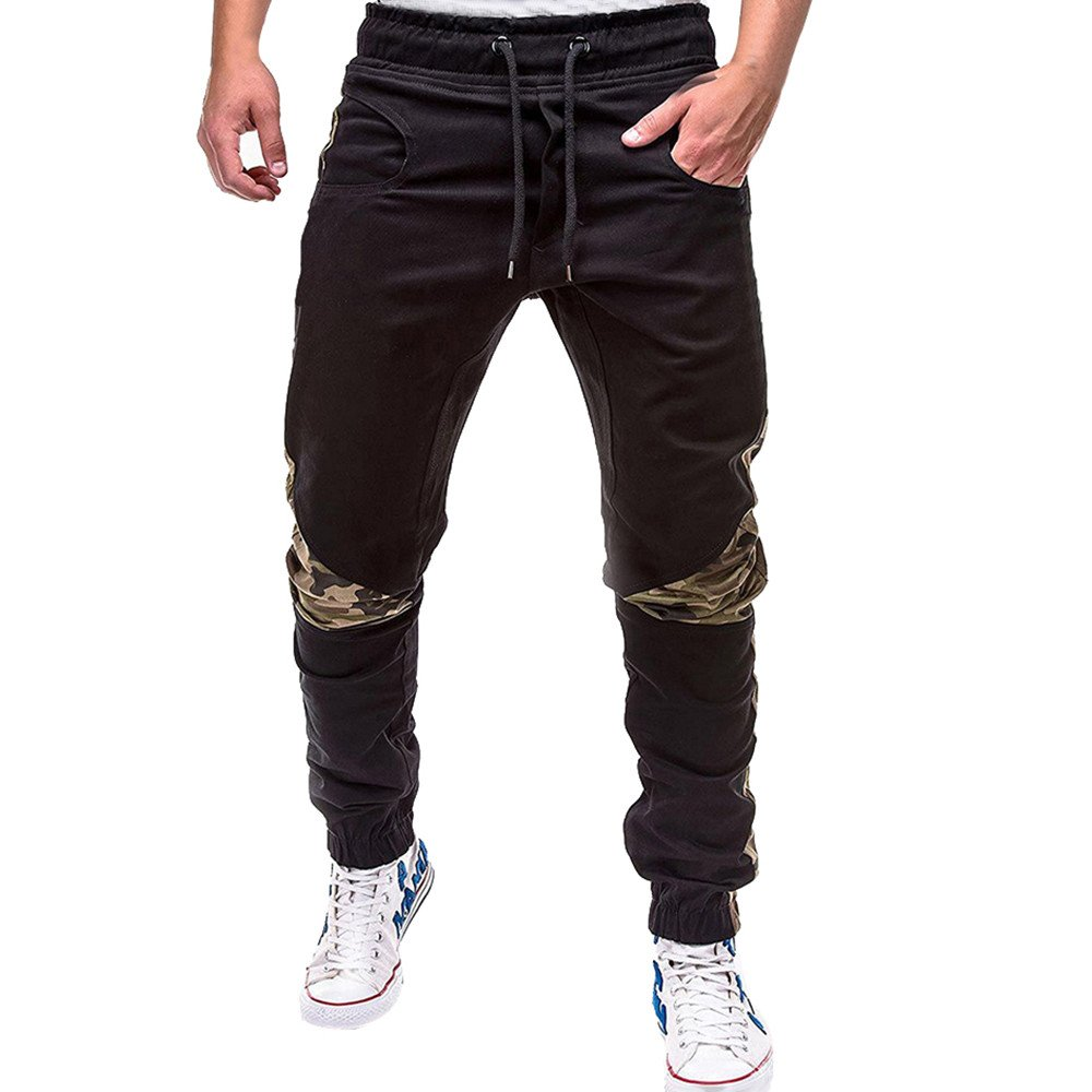 Mens Sweatpants, F_Gotal Men's Casual Camouflage Patchwwork Elastic Waist Sports Running Jogger Pants with Pockets