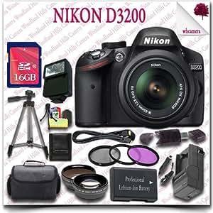 "Nikon D3200 Digital SLR Camera with 18-55mm AF-S DX VR (Black) + 16GB SDHC Class 10 Card + Wide Angle Lens / Telephoto Lens + 3pc Filter Kit + HDMI Cable + SLR Gadget Bag + 57"" Tripod + External Slave Flash 19pc Nikon Saver Bundle"