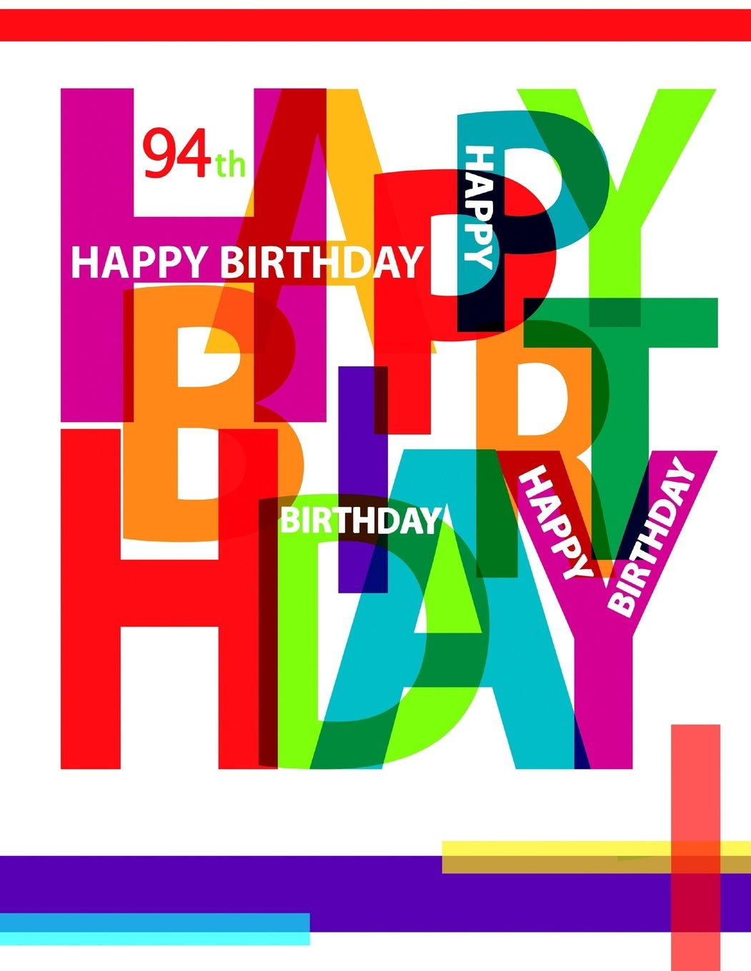Happy 94th Birthday Notebook Journal Diary 105 Lined Pages