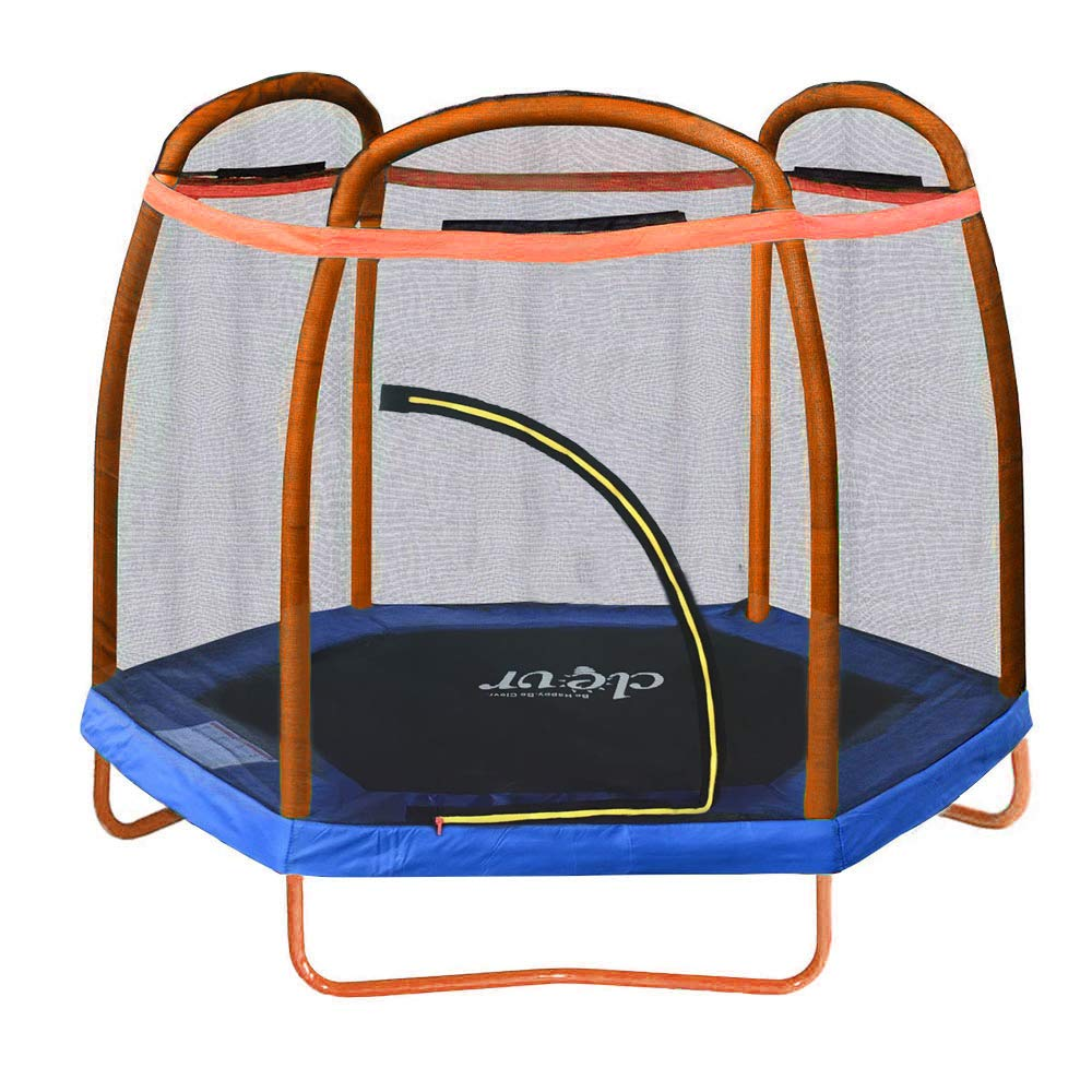 Clevr 7ft Kids Trampoline with Safety Enclosure Net & Spring Pad, 7-Foot Outdoor Round Bounce Jumper 84'' Indoor/Outdoor, Built-in Zipper Heavy Duty Frame, Orange and Blue | Great Birthday Gift by Clevr
