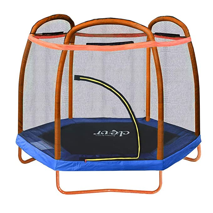 Clevr 7ft Trampoline with Safety Enclosure Net - Best Indoor Trampoline for Kids