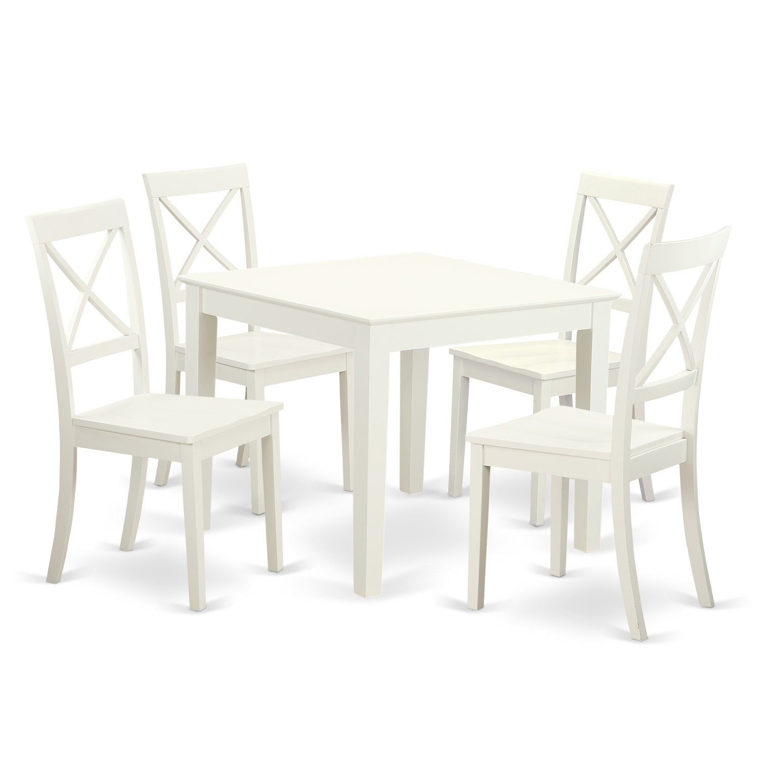 Amazon com east west furniture oxbo5 lwh w 5piece small kitchen table set 4 hardwood dining chairs oxford in linen white finish kitchen dining