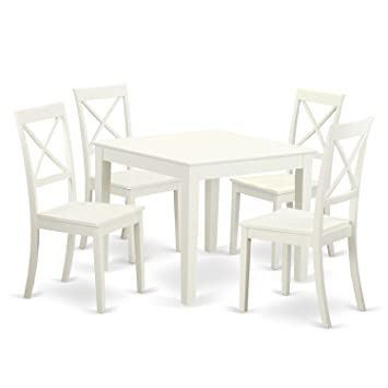 OXBO5-LWH-W 5 Pc small Kitchen Table set and 4 hard wood Dining Chairs. in  Linen White