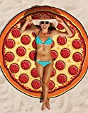 Round Beach Towel Pizza Printed Tablecloth Beach Towel Round Mandala Yoga Mat (Pizza Printed) offers