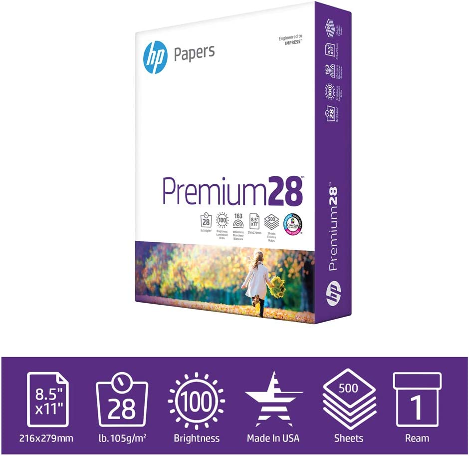 HP Printer Paper Premium 28lb, 8.5x 11, 1 Ream, 500 Sheets, Made in USA From Forest Stewardship Council (FSC) Certified Resources, 100 Bright, Acid Free, Engineered for HP Compatibility, 205200R