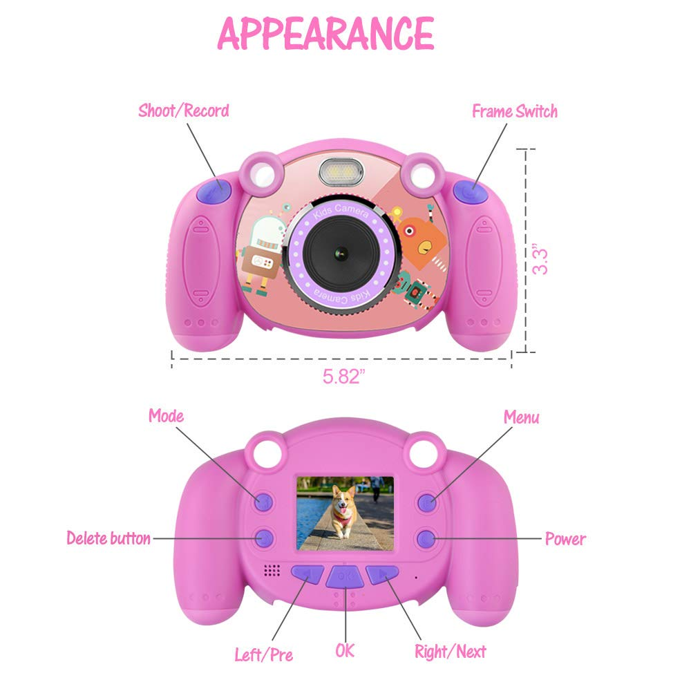 denicer Kids Camera Children Camcorders HD 2 Inch Screen with Mic, SD Card Non-Slip and Anti-Drop Design Children's Camera Taking Videos and Photos for Girls & Boys Birthday Gift by denicer (Image #4)