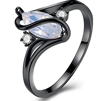 BEMI elegante para mujer S promesa anillo de compromiso de regalo de graduación blanco Lab Opal Partido Anillos en dorado y negro: Amazon.es: Joyería