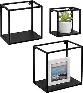MyGift Black Metal Cube-Frame Wall Hanging Shelves, Set of 3