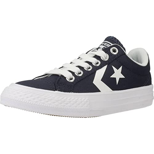 12fff8d82aa7 Converse Youth Star Player Ev Ox Athletic Navy White Canvas Trainers 6 US
