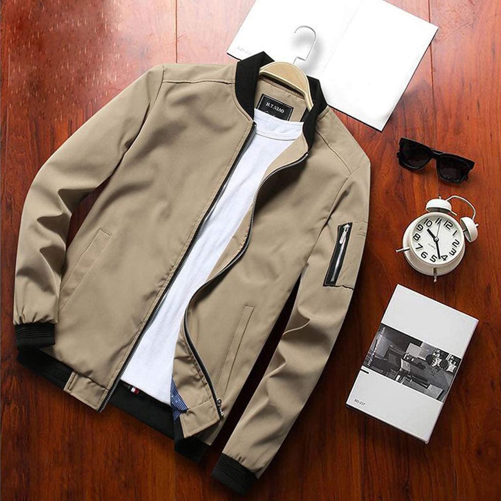 Cloudqi Mens Fashion Coat Autumn Casual Solid Long Sleeve O-Neck Thermal Leather Zipper Jacket Tops