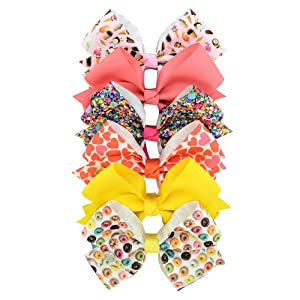 Hair Clips for Girls, 5 Inches Large Hair Bows 6 Packs Caring Food Ice Cream Grosgrain Hairbow Alligator Clips Barrettes Accessories Set for Girls