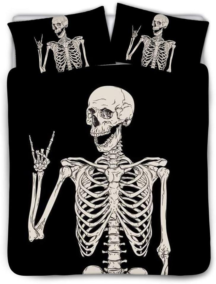 Snilety Bedding Set Halloween Skull Bedding Black Funny Skeleton Bed Cover 3 Piece Duvet Cover with Pillowcase,Teen Boys Mens Bedding Set Decor Bedding Skull Bones Cover