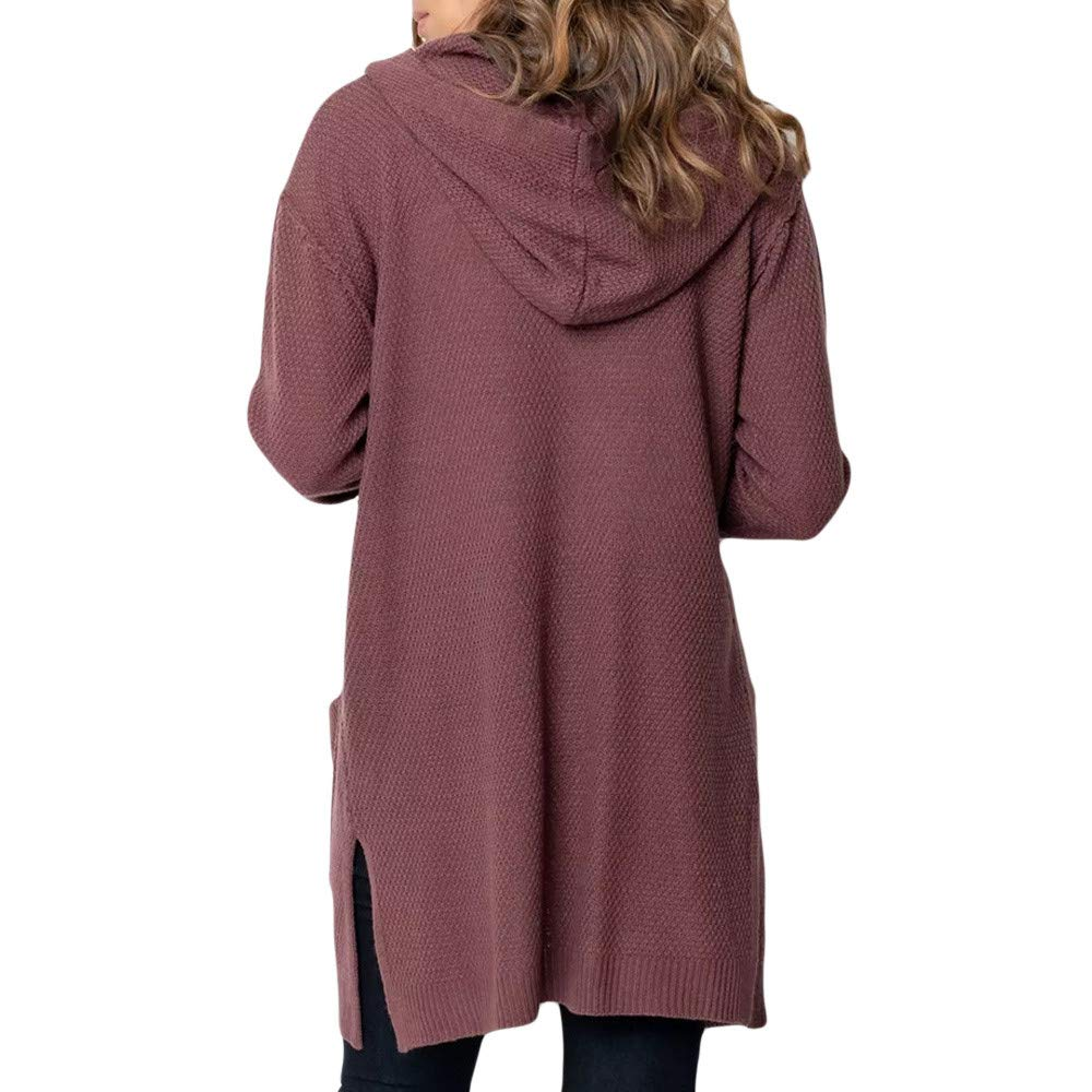 Theshy Fashion Women Long Sleeve Solid Pocket Cardigan Tops Sweater Knitted Hooded Coat Outwear Pockets