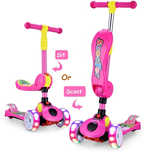 AOODIL 2-in-1 Toddler Kick Scooter for Kids 3 Wheel Scooter for Boys Girls Kids Scooter with LED Light Up Wheels Adjustable Height Folding Scooter for Children from 2 to 12 Years Old