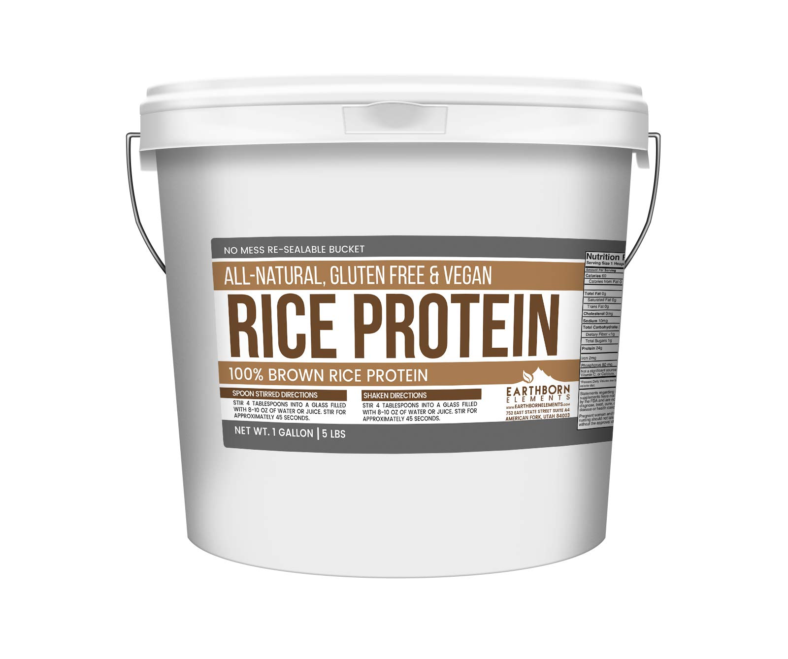 Rice Protein Powder, 1 Gallon Bucket (5 LBS) by Earthborn Elements, Sustainably Sourced from Sprouted Brown Rice, Vegan & Gluten-Free, Post-Workout Recovery