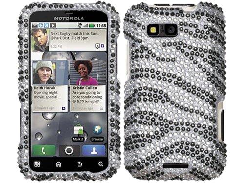 Zebra Motorola Faceplates (Zebra Silver Bling Rhinestone Faceplate Diamond White Black Crystal Hard Skin Case Cover for Motorola Defy MB525 w/ Free Pouch)