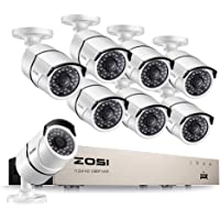 ZOSI 2.0MP Full HD 8 Channel 1080P NVR PoE Video Security Cameras System,120ft Night Vision with 2TB Hard Drive, UK standards PAL