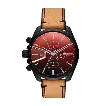 edafe693c Diesel Men's Ms9 Chrono Stainless Steel Quartz Watch with Leather Calfskin  Strap, Brown, 21
