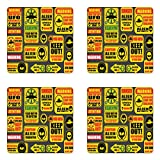 Lunarable Outer Space Coaster Set of Four, Warning Ufo Signs with Alien Faces Heads Galactic Theme Paranormal Activity Design, Square Hardboard Gloss Coasters for Drinks, Yellow