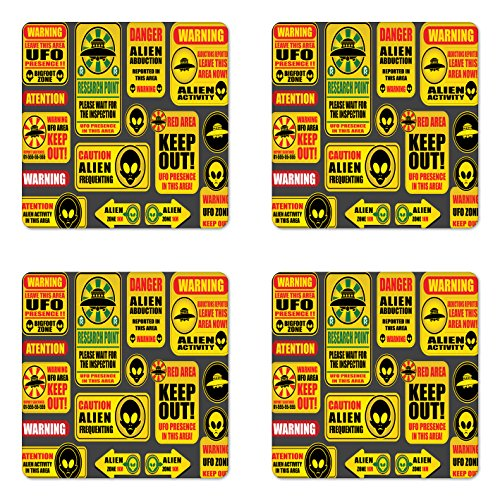 Lunarable Outer Space Coaster Set of Four, Warning Ufo Signs with Alien Faces Heads Galactic Theme Paranormal Activity Design, Square Hardboard Gloss Coasters for Drinks, Yellow by Lunarable