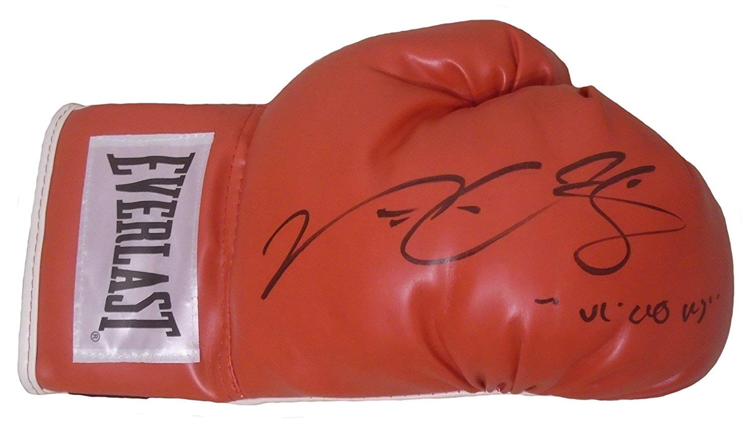 Victor Ortiz Autographed Hand Signed Everlast Red Boxing Glove with Nickname Inscription and Proof Photo of Signing, COA