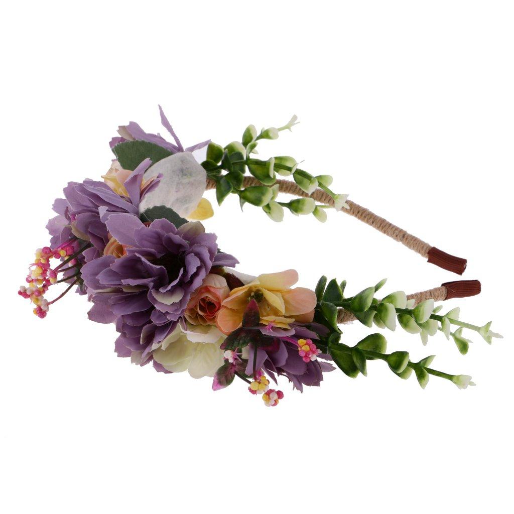 MagiDeal Bandeau de Cheveux Tissu Fleur Multicolore Serre-tête Bohème pour Mariage