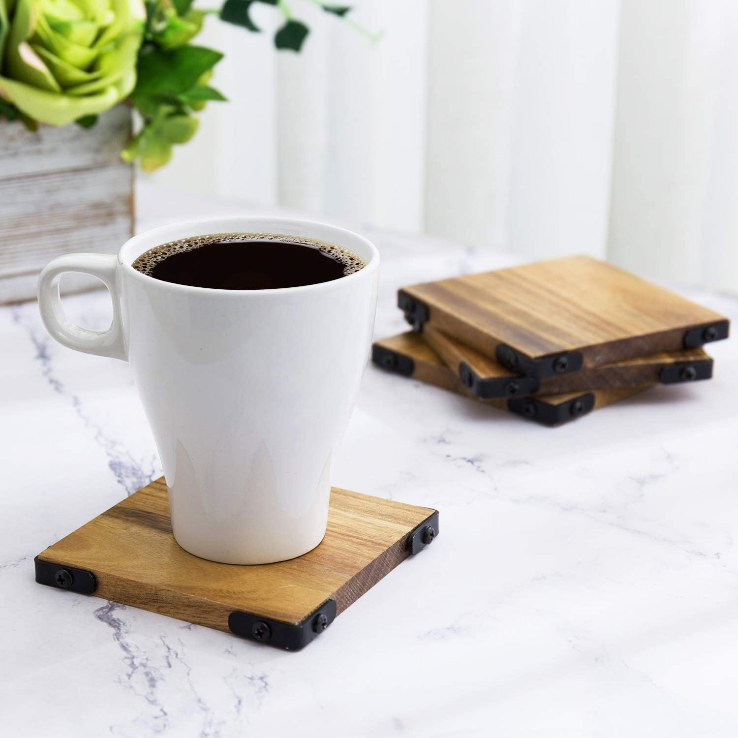 MyGift Premium Acacia Solid Wood Square Beverage Coasters with Matte Black Metal Corners for Hot & Cold Drinks, Set of 4