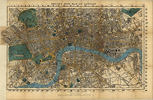 24 x 18 Reprinted Old Vintage Antique Map of: c.1860 Smith's new map of London m29