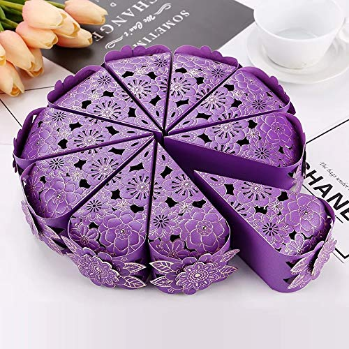 DEVILFACE Laser Cut Flower Wedding Sweets Triangle Favor Candy Gifts Boxes Bridal Shower Wedding Party Favors (Purple, 30)