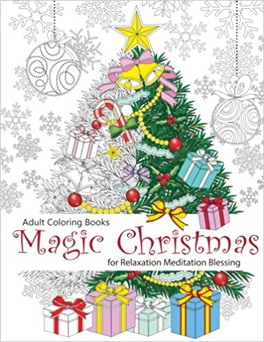 Amazon Com Adult Coloring Book Magic Christmas For Relaxation  - Magic Christmas Tree