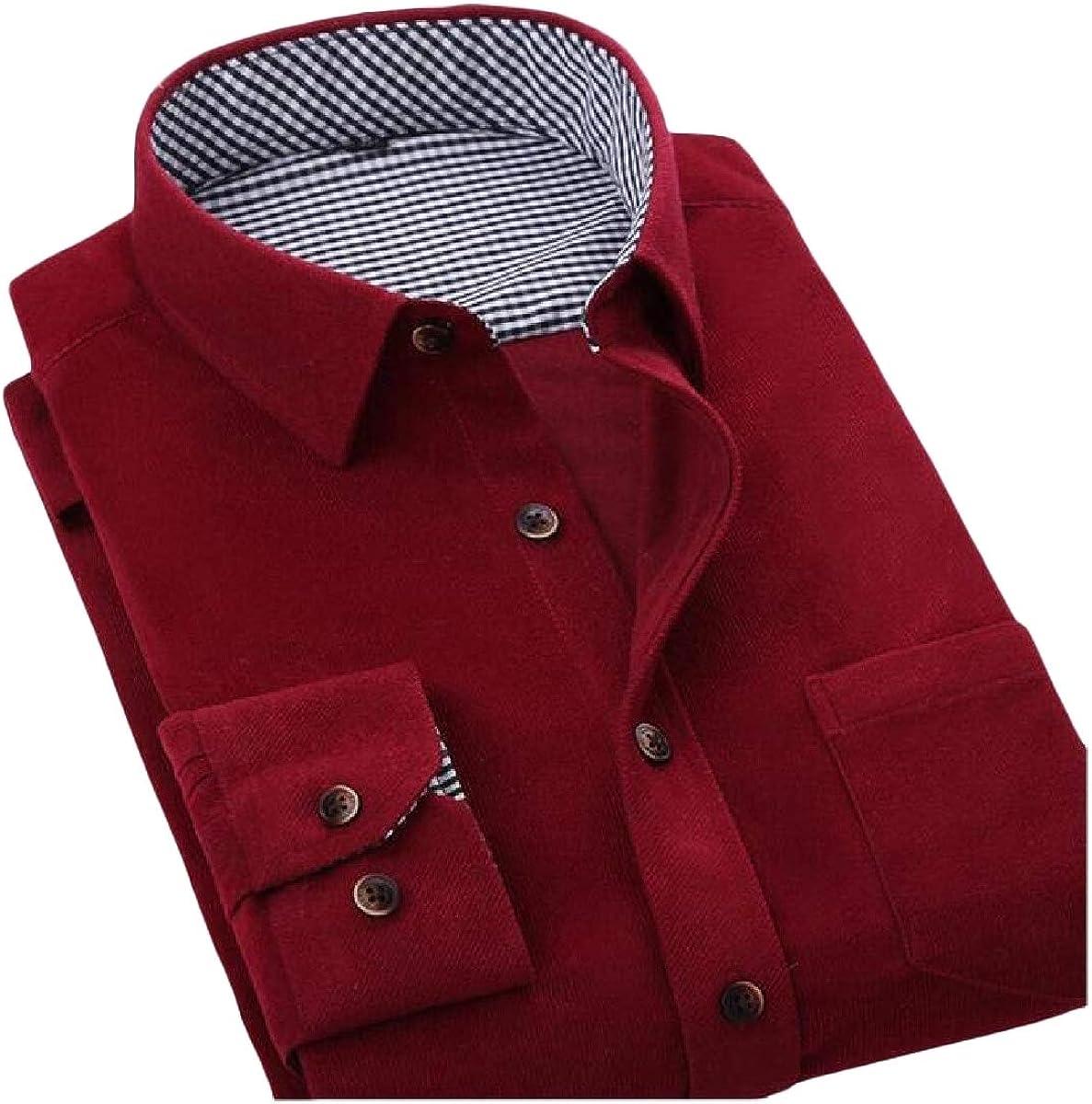 Lutratocro Men Button-Down Vogue Solid Corduroy Slim Long-Sleeve Shirt