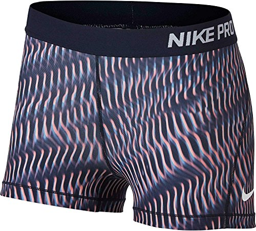 550 Red Berry - Nike Women's 3'' Pro Rainbow Wave Printed Shorts (Bold Berry/Siren Red, M)