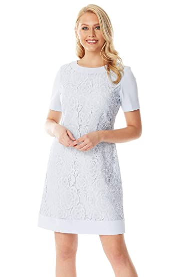 Roman Originals Women Short Sleeve Luxe Lace Dress Evening Formal Wedding Guest Bridesmaids Party Special Occasion Wear Quality Mother Of The Bride