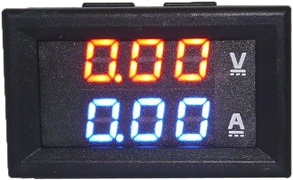 rojo Dual Display en color LED amperio Dual Digital Volt Meter Gauge 2 en 1 Mult/ímetro 100V 10A DC amper/ímetro digital del volt/ímetro azul