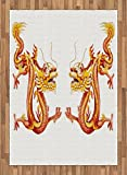 Dragon Area Rug by Lunarable, Identical Twin Dragons on Symmetric Axis Religious Mythic Featured Heritage Animal, Flat Woven Accent Rug for Living Room Bedroom Dining Room, 5.2 x 7.5 FT, Orange Red