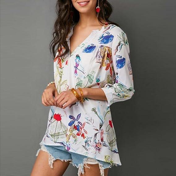 Mujer Blusas Camisa Casual V Cuello Floral Estampada Tres Cuartos Gasa Camiseta Tops: Amazon.es: Ropa y accesorios