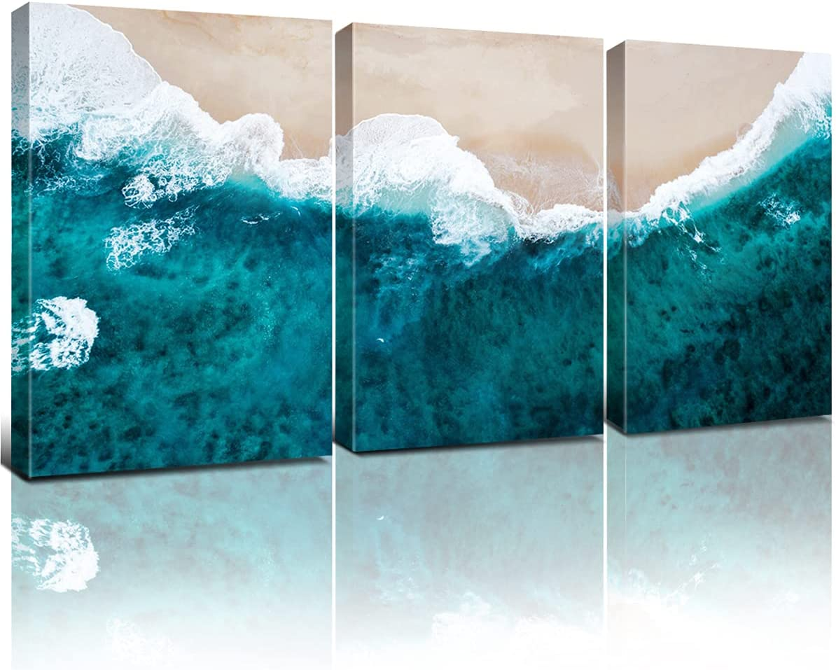 Beach Wall Decor Teal Blue Bathroom Wall Art Nautical Coastal Ocean Wave Prints Canvas for Living Room 7x10