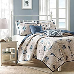 Madison Park Bayside King Size Quilt Bedding Set - Blue, Khaki, Seashells – 6 Piece Bedding Quilt Coverlets – 100% Cotton Sateen Bed Quilts Quilted Coverlet