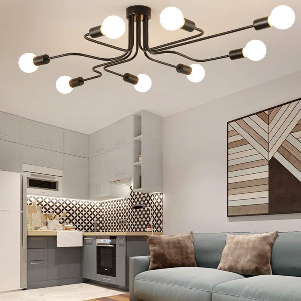 XAJGW Black Metal Steel Art Dining Room Flush Mount Ceiling Light with 8 E26 Bulb Sockets 480W Painted Finish Color : Black