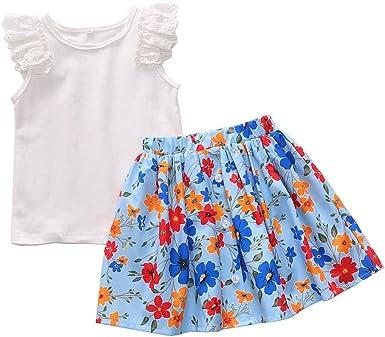 SO-buts - Conjunto de Falda de Verano para niñas de 1 a 5 años con Volantes y Blusas sólidas y Falda con Estampado Floral: Amazon.es: Ropa y accesorios