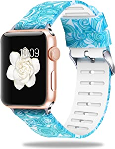 Bozhan Replacement Strap Compatible for Apple Watch 38mm/40mm, Women Bands Slim Silicone Strap for iWatch Edition (38mm 40mm-Blue Clouds)