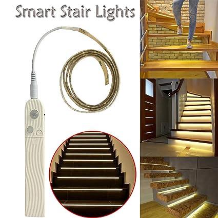 Gocheaper Motion Sensor Light Intelligent Stair Lights,Smart Stair Lights  Turn On When You Walk On Them Night Induction Stair Light