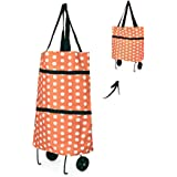 Folding Trolley Bag, Merssyria Reusable Collapsible Shopping Grocery Bags with Wheels Foldable Shopping Cart