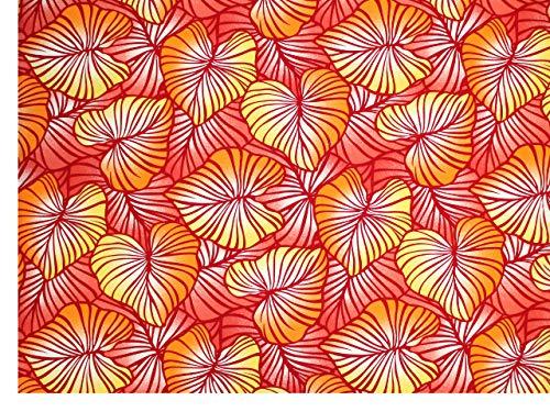 ハワイアンファブリック 生地 【レッド・タロ】 7143の商品画像