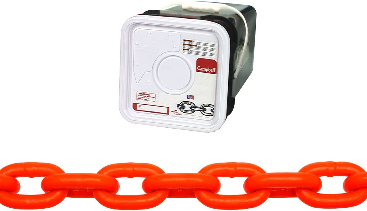 75 Length 1900 lbs Load Capacity 0.31 Diameter Campbell HV0142526 System 3 Grade 30 Low Carbon Steel Proof Coil Chain in Square Pail Hi-Visibility Orange Polycoated 5//16 Trade