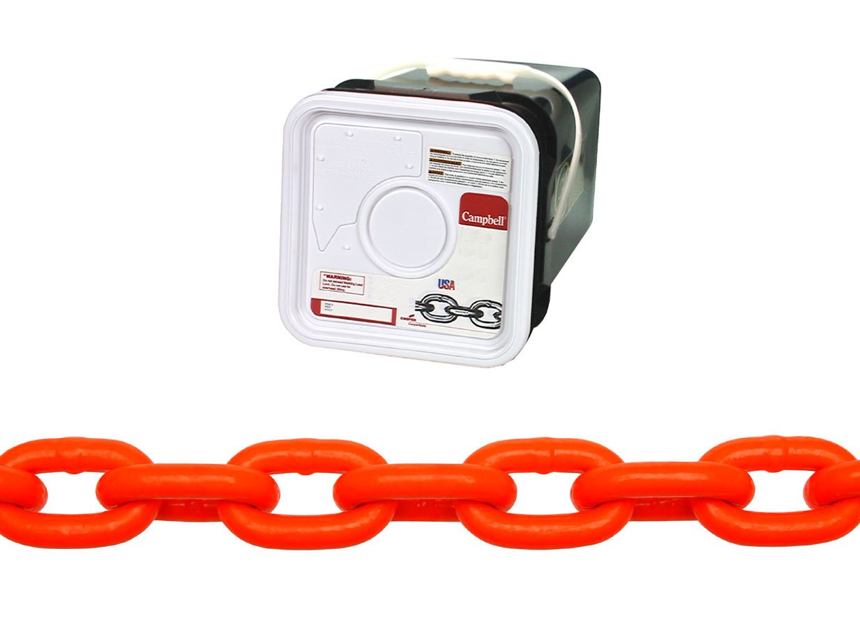 Campbell HV0142526 System 3 Grade 30 Low Carbon Steel Proof Coil Chain in Square Pail, Hi-Visibility Orange Polycoated, 5/16'' Trade, 0.31'' Diameter, 75' Length, 1900 lbs Load Capacity by Apex Tool Group