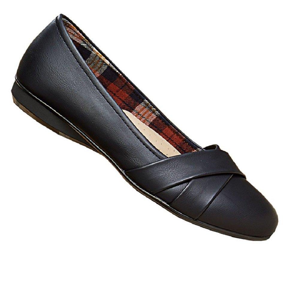 Gold Toe Amber Womens Comfortable Memory Foam Work Shoe,Dressy Ballet Flat,Business Casual Office Shoes for Women Black 8 W US