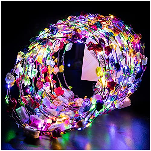VINCHA LED DE FLORES -20u. multicolor