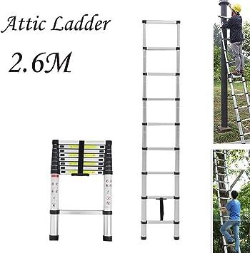 Escalera telescópica de aluminio extensible para ático de 2,6 m, carga máxima 150 kg, estándar EN131: Amazon.es: Bricolaje y herramientas