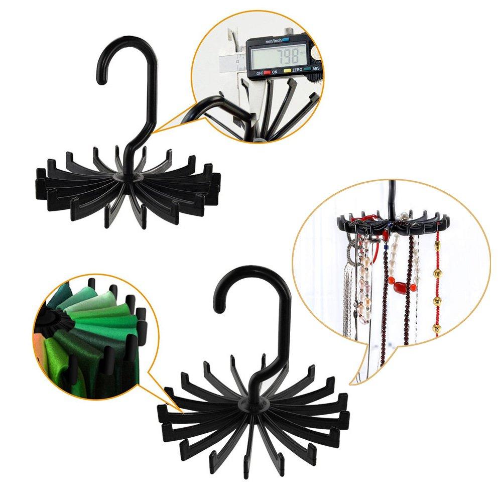 Metal Magic perchas gancho para la ropa del armario la ropa de dise/ño de ahorro de espacio de armario organizador del armario de gancho colgador bono actualizado de 360 grados de rotacion Twirl Tie Rack(4pack))